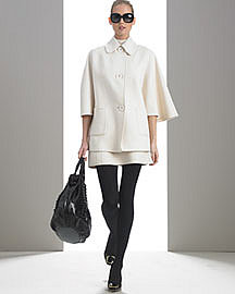 MICHAEL KORS Cashgora Cape Coat & Sleeveless Panel Dress