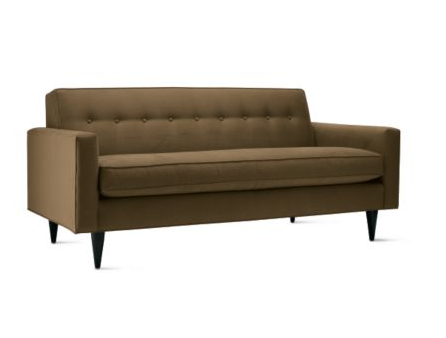 Order the DWR Bantam Sofa ($1,780) in Alabaster to replicate Lily's sofa.