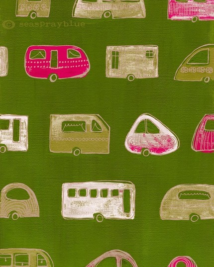 Mod-looking trailers go for pink perfection in The Caravan Exhibition ($19) from Dresden, Germany-based artist Katrin Schwulst.