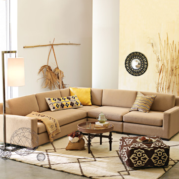 Get a similar party-compliant home atmosphere with the Logan Sectional ($3,894).