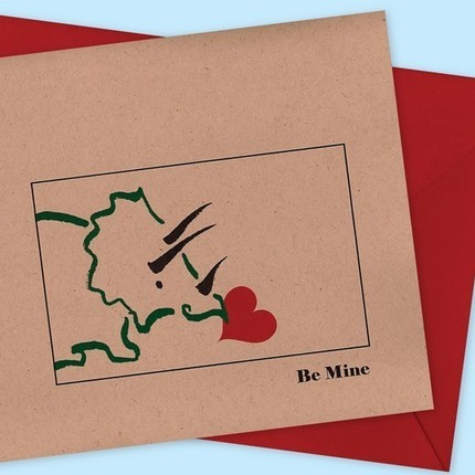 Who says dinosaurs don't celebrate Feb. 14? This triceratops on the Dinosaur Love Card ($3.50) sure seems to be full of heartfelt sentiments.