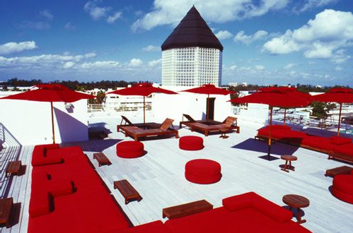 The outdoor rooftop terrace features king-size waterbeds paired with huge umbrellas for sunbathers and shade-seekers alike.
