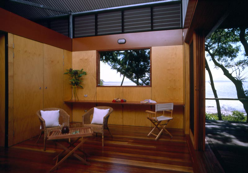 The house uses simple furnishings, which keeps the focus on the natural beauty of the surroundings.