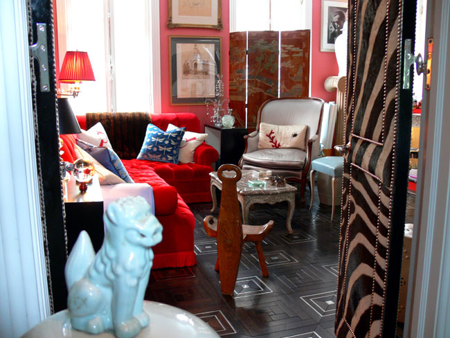 Who needs a zebra rug when you've got gorgeous parquet flooring and zebra-skin doors?
