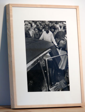 A photograph of Coretta Scott King by Larry Fink sits in an Ikea frame.