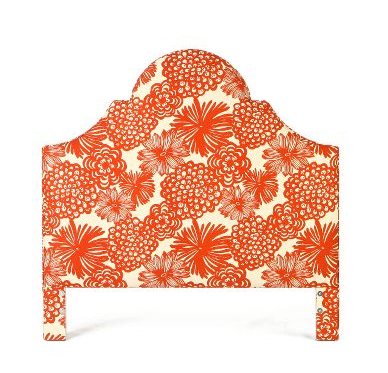 The Anthropologie Ardenne Headboard ($375-525) has an equally tailored form with its stately wooden frame and takes a fanciful, tropical turn with its blossoming coral dahlia print.