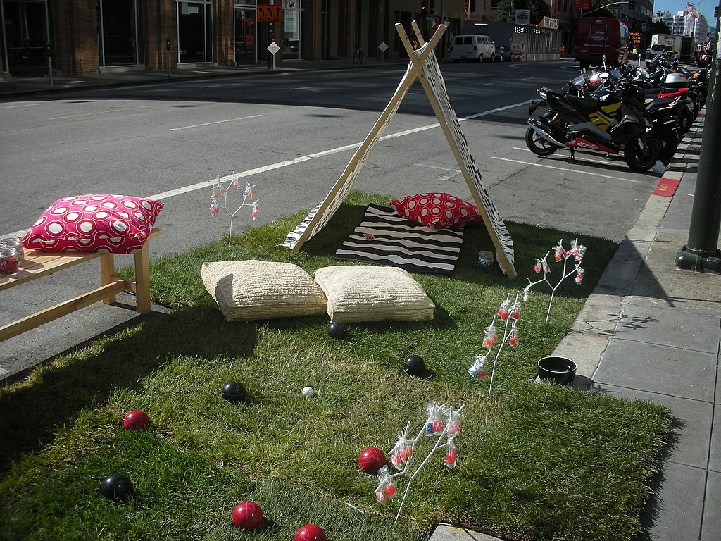 Woven floor pillows served as spare seating.