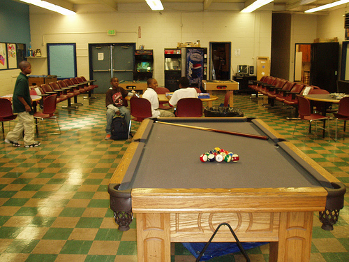 The kids loved playing billiards while I was at the center. I wonder how the space will be changed to accommodate more games? Hm . . . who will be the designer to figure out these quandaries? I'll let you know in a moment!
