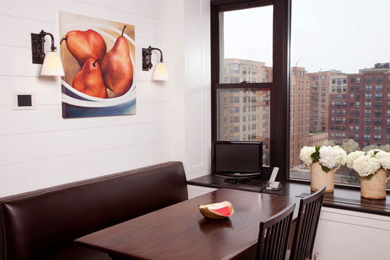 This kitchen banquette has views of Hoboken.