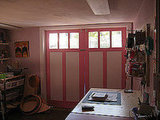 Laurel painted these garage doors this Summer. They lend the studio space a fanciful touch.