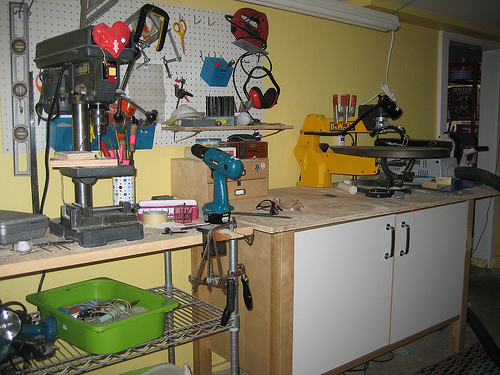 Laurel's woodshop setup is equally organized. I am coveting her power tools!