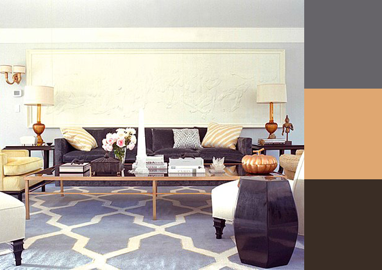 Bronze notes add depth to this living room, which features a gray rug very similar to your West Elm Taksim Rug. Source