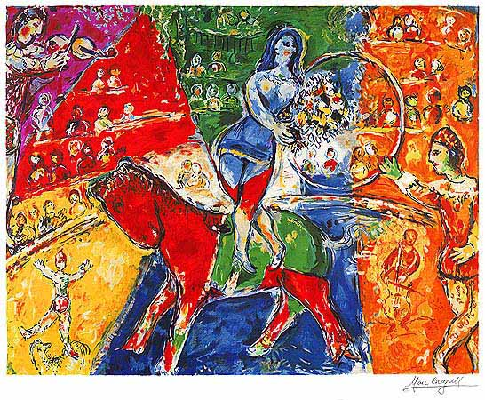 This giclee print of Mark Chagall's Circus Horse Rider provides a dash of drama in a bold color palette.