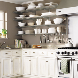 Try your own open shelving in platinum with the Elfa unit from the Container Store.