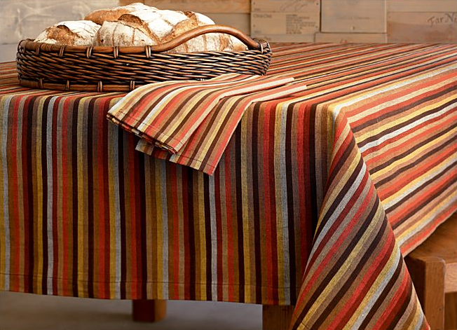 Lay down the Crate & Barrel Saltillo Tablecloth ($14.95 and up) before you set your table this Nov. 27.