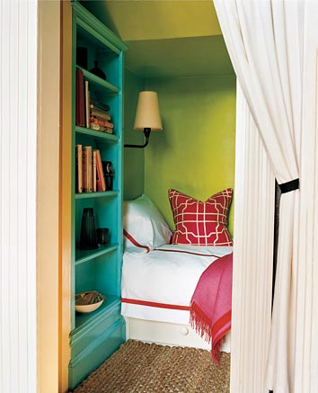 In this bedroom nook, a lime/apple green brightens the space and makes a preppy pairing alongside the teal hue. Source