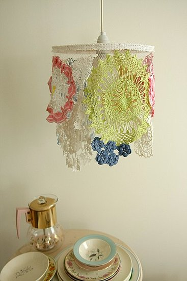 The Nice Bouquet Light Shade ($138) gives an assortment of vintage and found handmade doilies a new purpose.