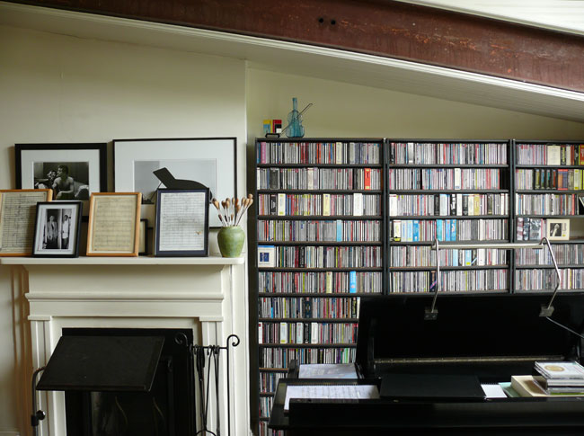 Sheffer's expansive collection of CDs creates a wallpaper effect.