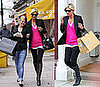 Kate Moss in a Hot Pink Sweater During London Fashion Week
