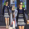Rachel Bilson In LA Wearing Navy and White Phillip Lim Ethnic Dress, Navy Velvet Blazer, and Ray Ban Wayfarers