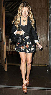 Lauren Conrad in LA in a Black Alice & Olivia Blazer, Floral Skirt, and Tan Miu Miu Sandals