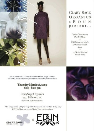 Edun Pop Up Shop at Clary Sage on Fillmore