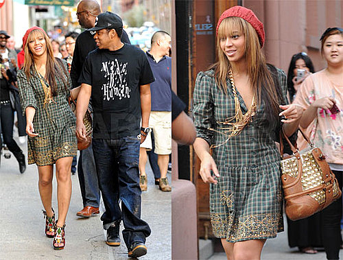 Beyonce and Jay-Z Stroll in NYC, Beyonce Wearing a Plaid Dress, Red Beret, and Louis Vuitton Platforms