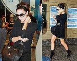 Victoria Beckham Arrives in Milan Wearing All Black and Black Hermes Birkin