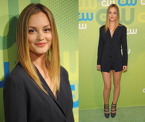 Leighton Meester Attends CW Upfront Party Wearing a Black Blazer and Black Shorts