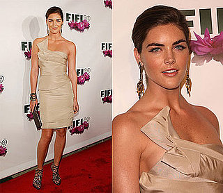 Model Hilary Rhoda in Beige Jacques Fath Dress and Jimmy Choo Sandals at the Fifi Awards