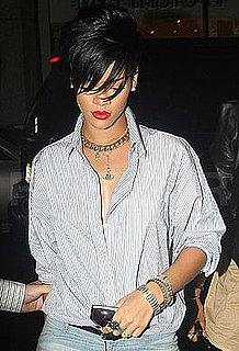 Photo of Rihanna Wearing Striped Button Down Shirt In NYC