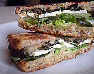 Recipe For Warm Eggplant Sandwich With Mint, Feta, and Hummus