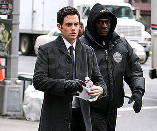 Photo of Penn Badgley on the NYC set of Gossip Girl