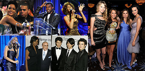 Photos of Rihanna, Chris Brown, Kelly Clarkson, Whitney Houston, Jonas Brothers, Kanye West at Clive Davis's Pre-Grammy Party