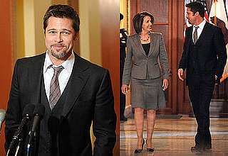 Photos of Brad Pitt and Speaker of the House Nancy Pelosi in Washington DC