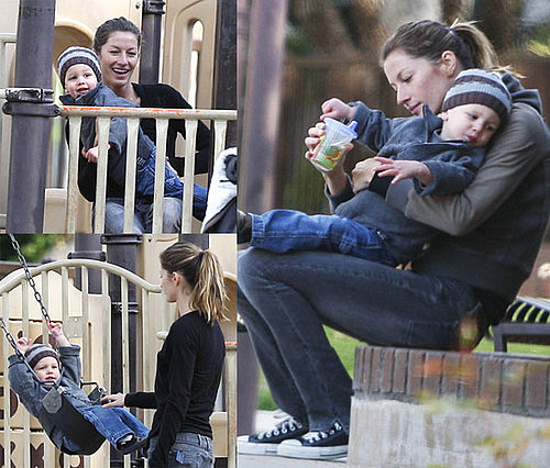 Happy New Stepmom Gisele Brings Adorable John to the Park