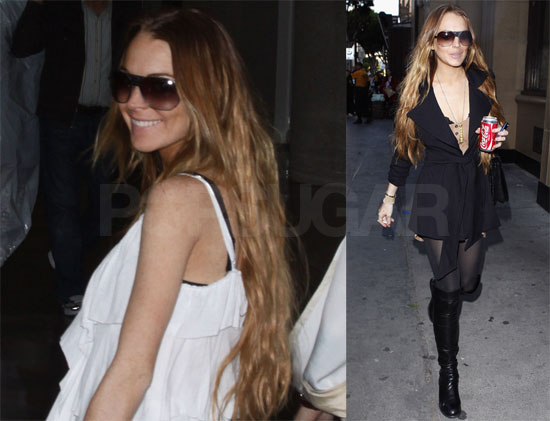 Lindsay Lohan in LA, Car Banged Up