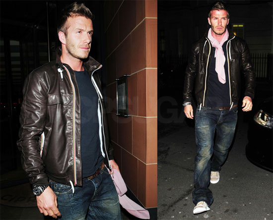 David Beckham With Pink Scarf