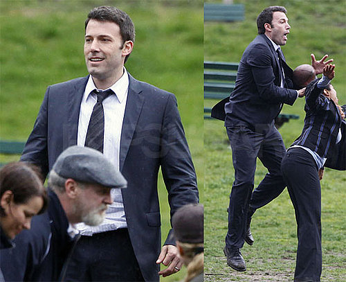 Photos of Ben Affleck Playing Football on the Set of The Company Men