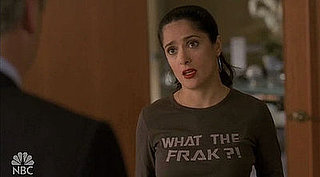 "Salma Hayek Wears a ""What the Frak?!"" Shirt on 30 Rock"