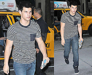 Photos of Taylor Lautner Wearing a Striped Shirt in NYC