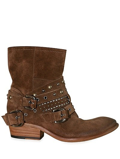 STRATEGIA - STUDDED BUCKLE SUEDE LOW BOOTS - LUISAVIAROMA - STUDDED BUCKLE SUEDE LOW BOOTS  377.04 