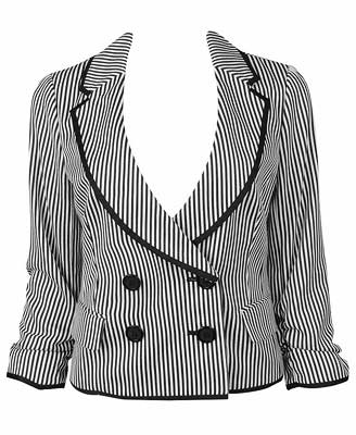 Striped Cinched Sleeve Jacket