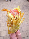 French Fry-Encased Hot Dog On A Stick