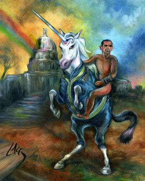 Nude Obama on a Unicorn Painting