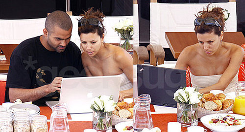 Tony Parker and Eva Longoria Parker With Their Laptops On Vacation In St. Tropez
