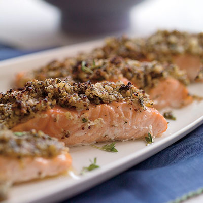 Roasted Salmon With Lemon Herb Matzo Crust
