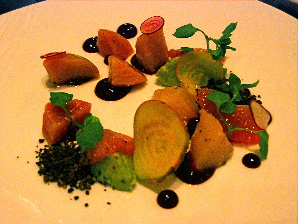 "Beet Salad With Avocados, Grapefruit, and Pistachio ""Soil"""