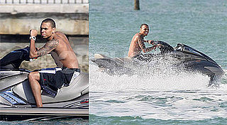Photos of Chris Brown Jet Skiing While in Miami With Rihanna