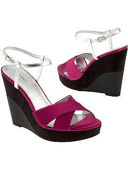 Women's Satin Ankle-Strap Wedges